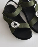 CRYSTAL EMBELLISHED SANDALS - 2 COLORS