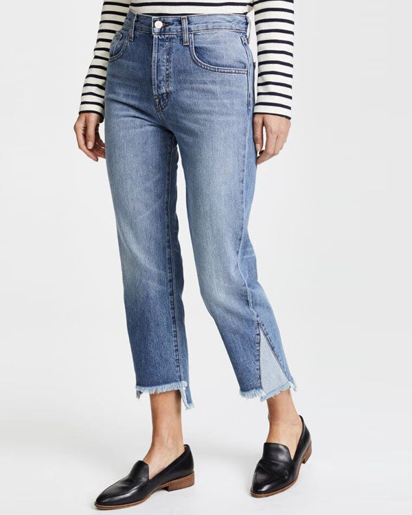 CONTRAST CROPPED DENIM