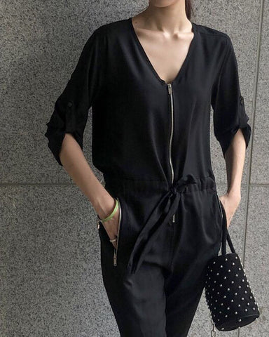 V-NECK ZIPPER JUMPSUIT