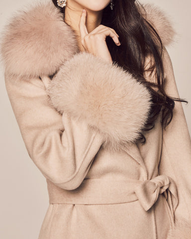 FOX FUR TRIM CASHMERE COAT