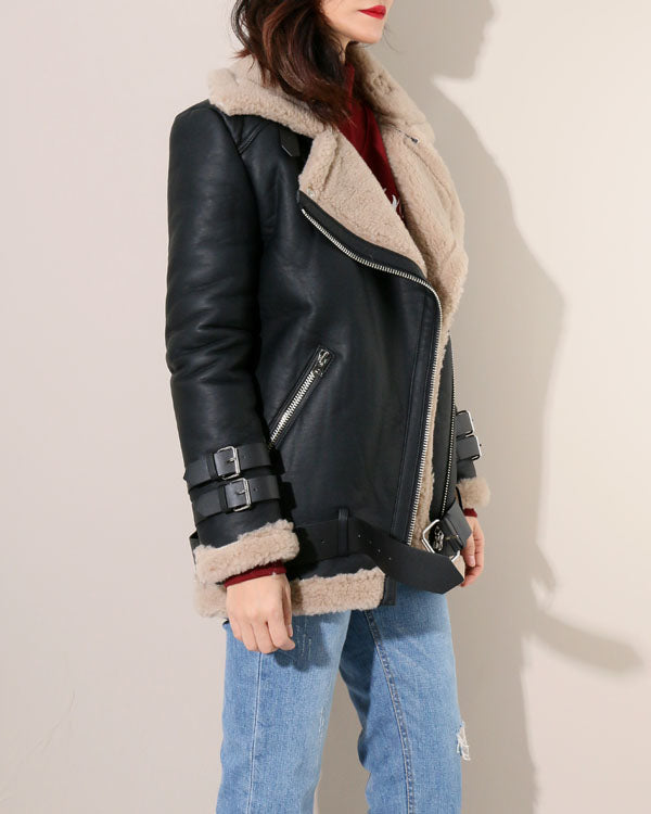 SHEARLING LINED MOTO JACKET