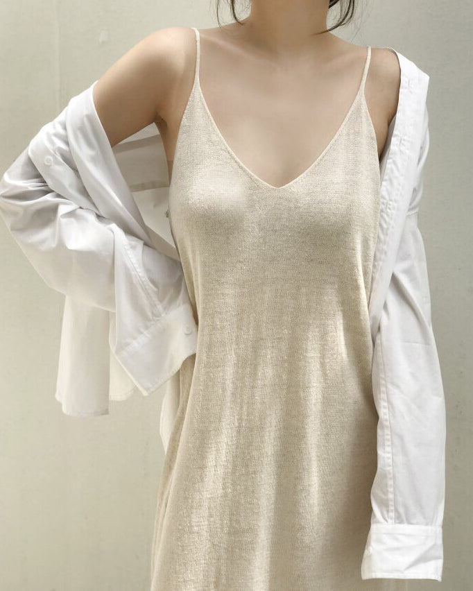 LINEN MAXI KNIT DRESS - 3 COLORS