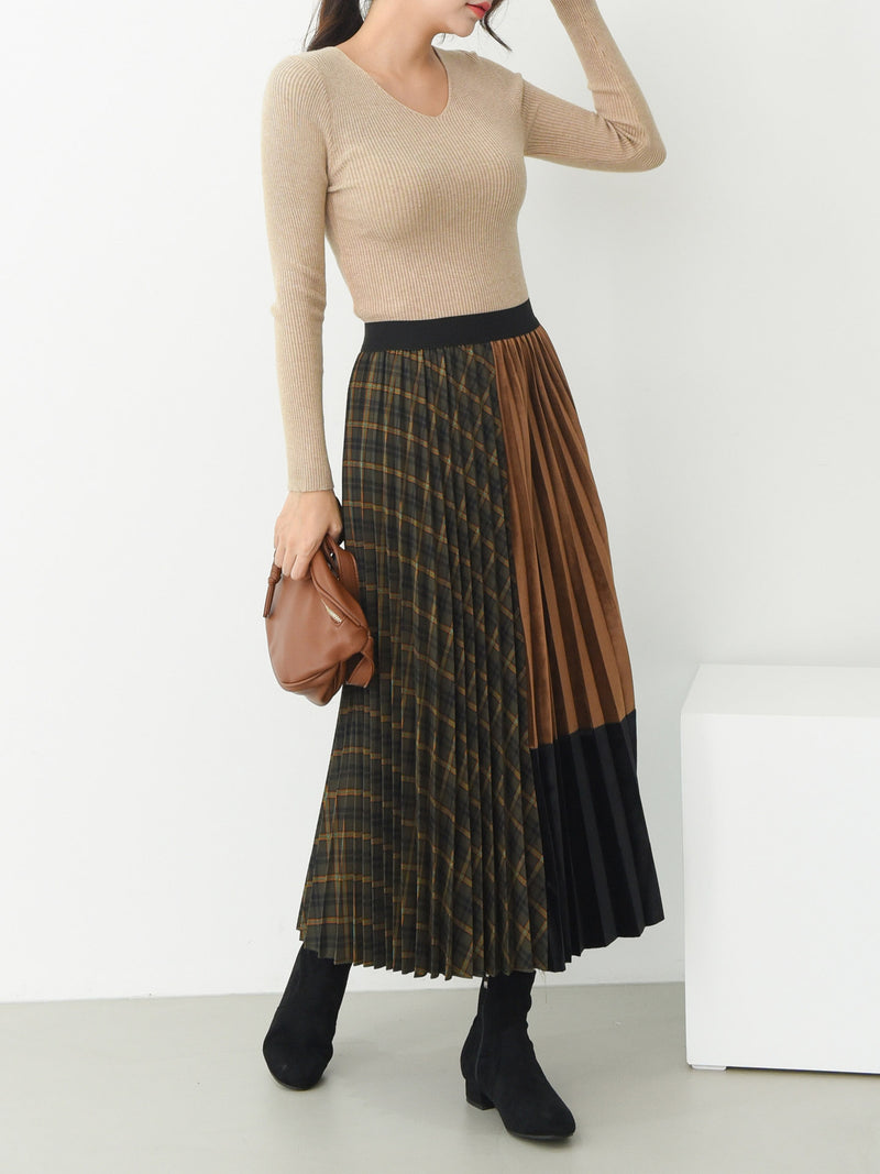 COLOR BLOCK PLEATED SKIRT