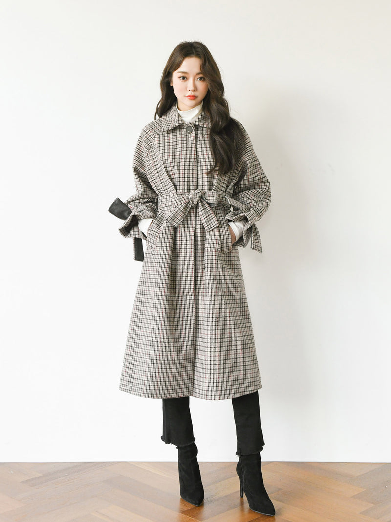 MIDI CHECK WOOL COAT
