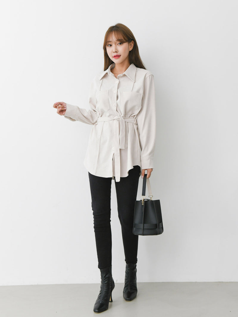 LONG SLEEVE SUEDE BELTED SHIRT