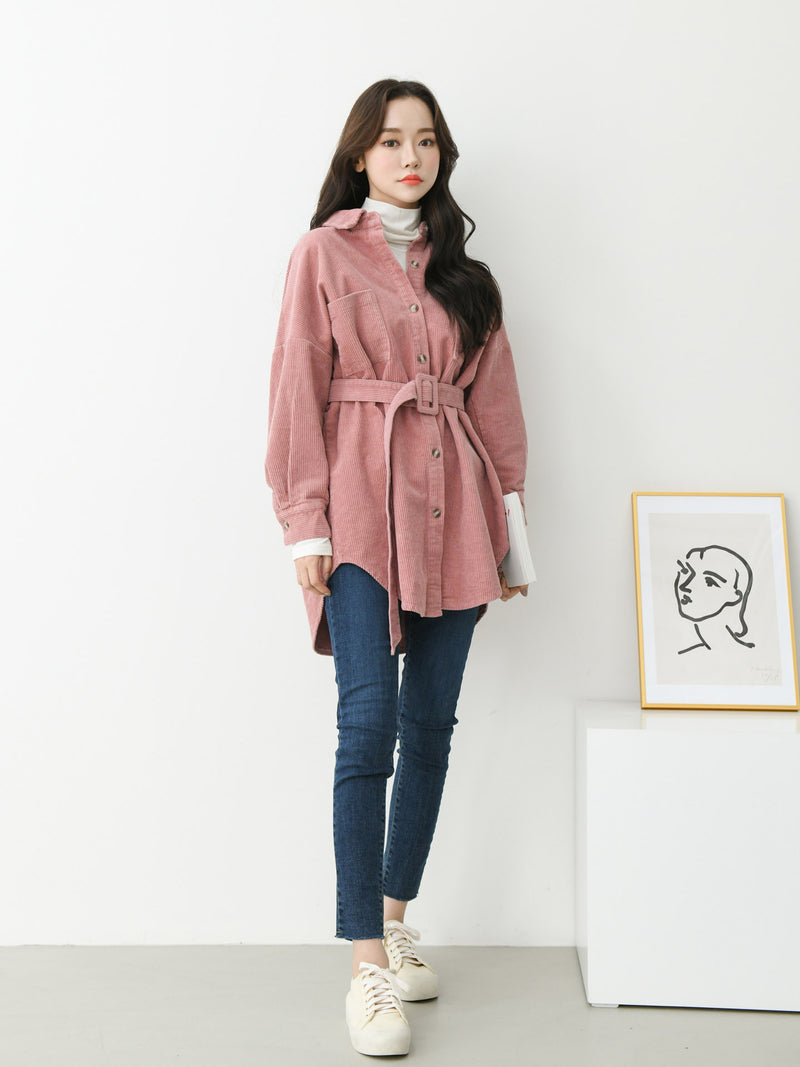 LONG SLEEVE CORDUROY BELTED SHIRT