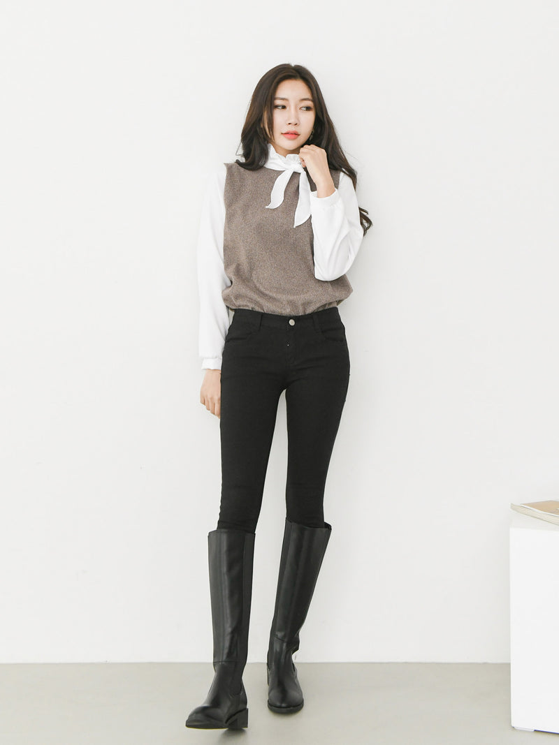 CONTRAST WOOL BLOUSE