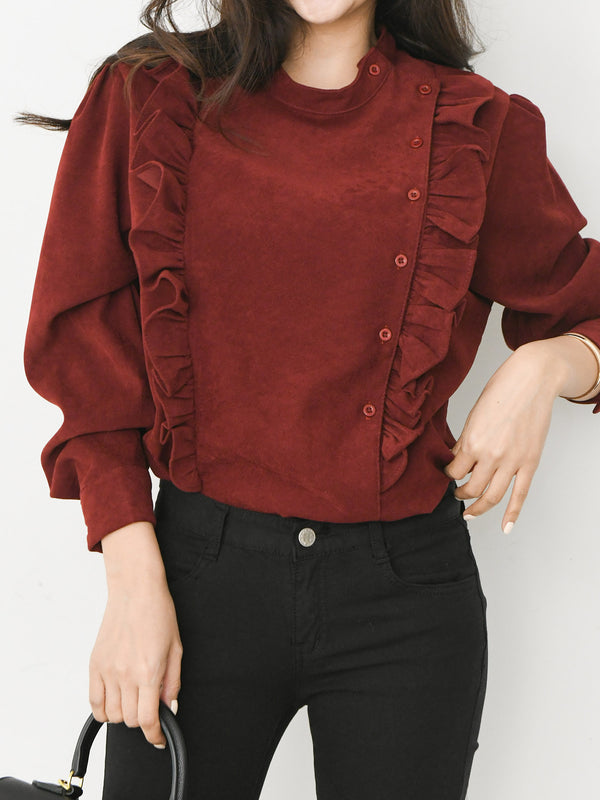 RUFFLE BUTTON DETAIL BLOUSE