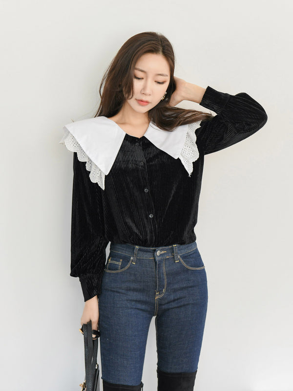 SHAWL COLLAR COTTON BLOUSE
