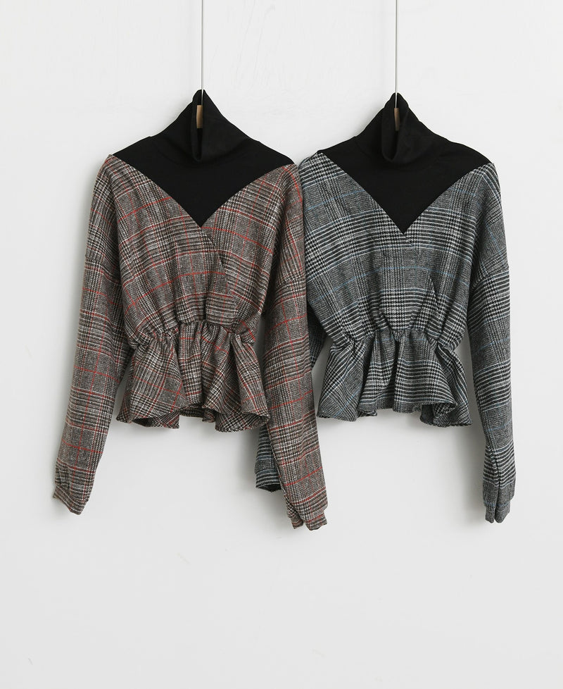 CHECK WRAP WOOLEN BLOUSE