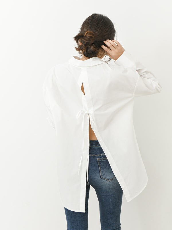 OVERSIZED PEEKABOO COTTON BLOUSE