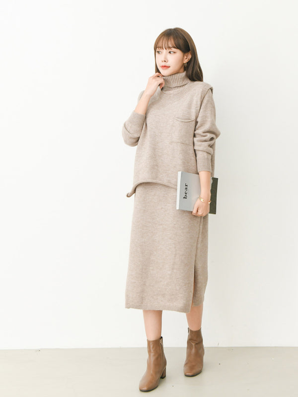 TURTLENECK DRESS & VEST SET