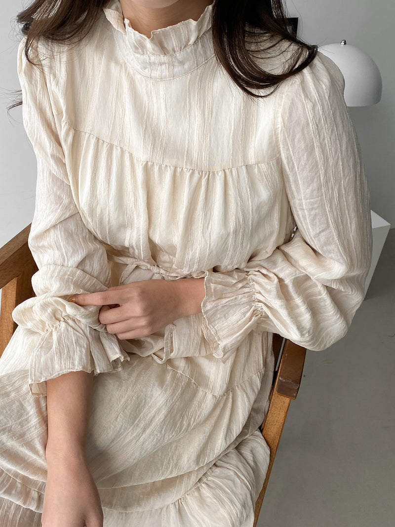 LONG SLEEVE PANEL MIDI DRESS