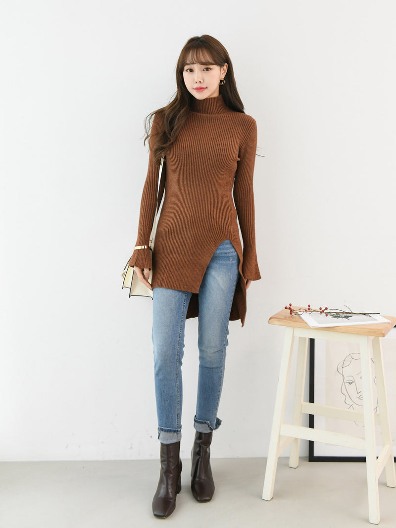 SLIM FIT LONG RIBBED KNIT TURTLE NECK