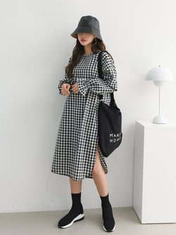 GINGHAM SIDE SLIT MIDI DRESS