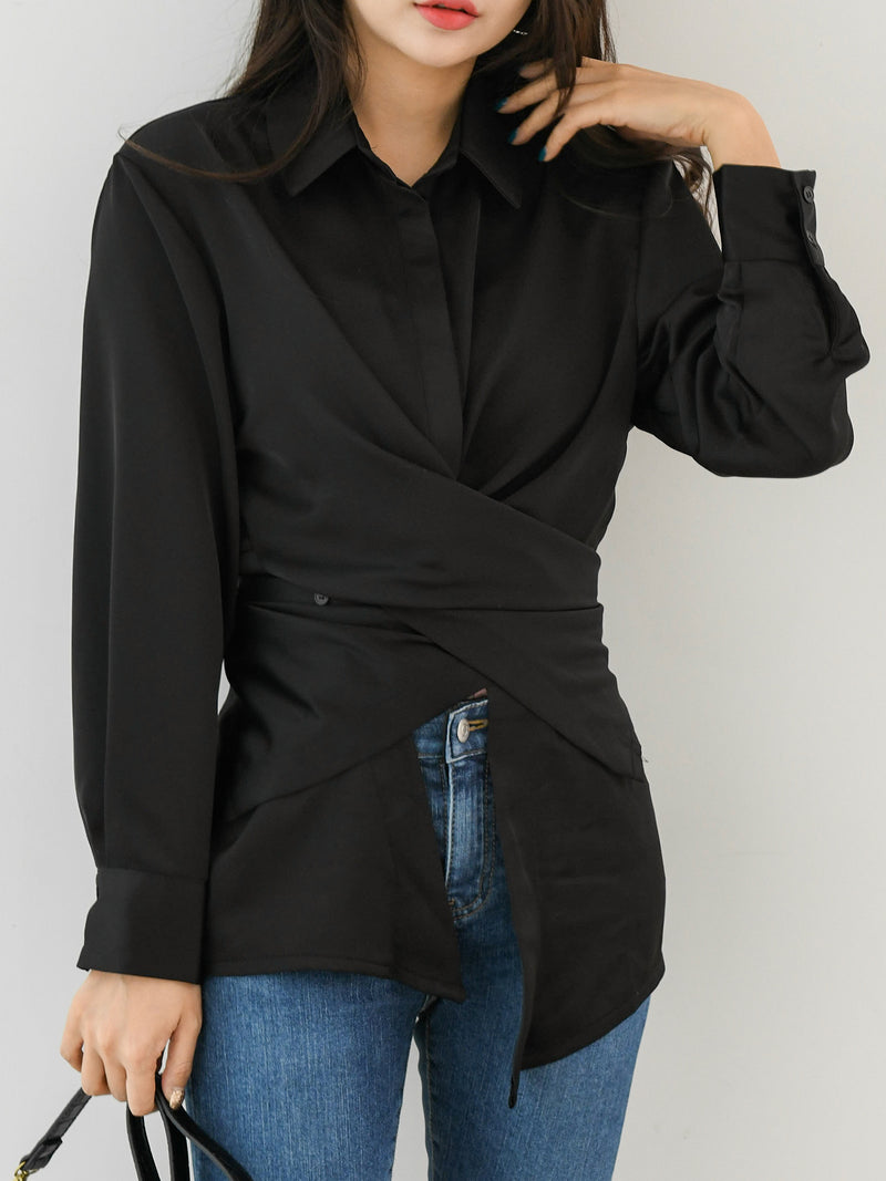 SATIN WRAP BLOUSE