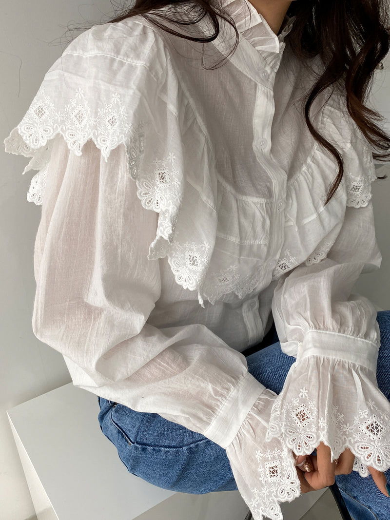RUFFLE EMBROIDERED COTTON BLOUSE