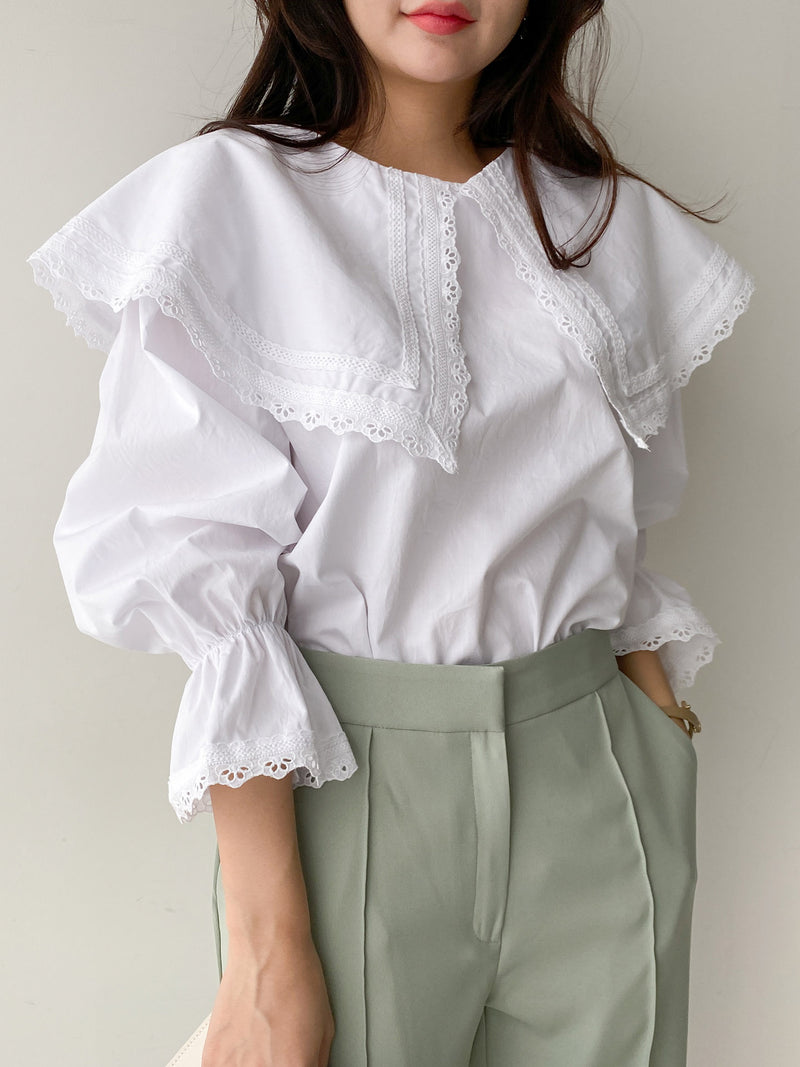 WIDE COLLAR COTTON BLOUSE