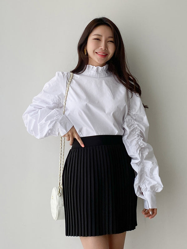 RUCHED SLEEVE COTTON BLOUSE