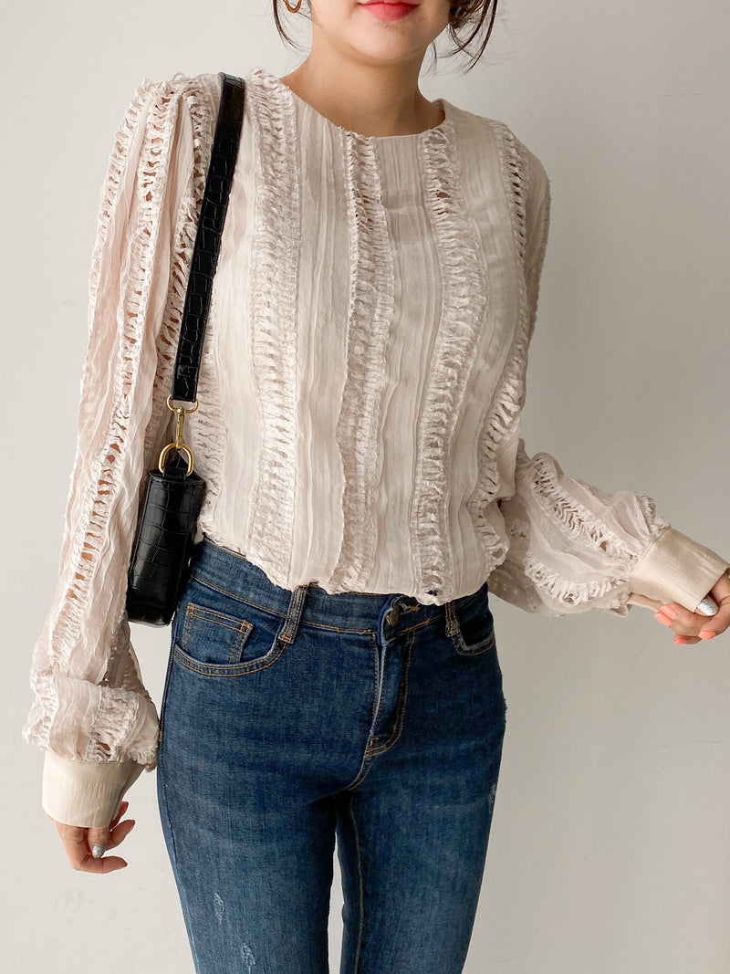 SHEER BLOUSE WITH CUT OUT DETAIL