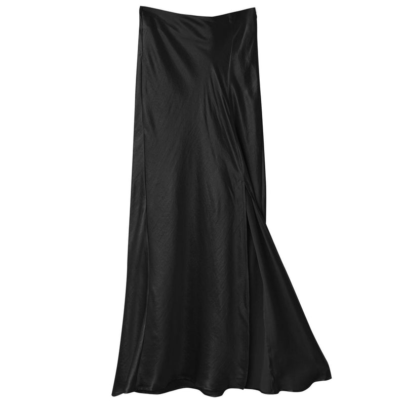 FRONT SLIT DETAIL LUXE SILK MAXI SKIRT