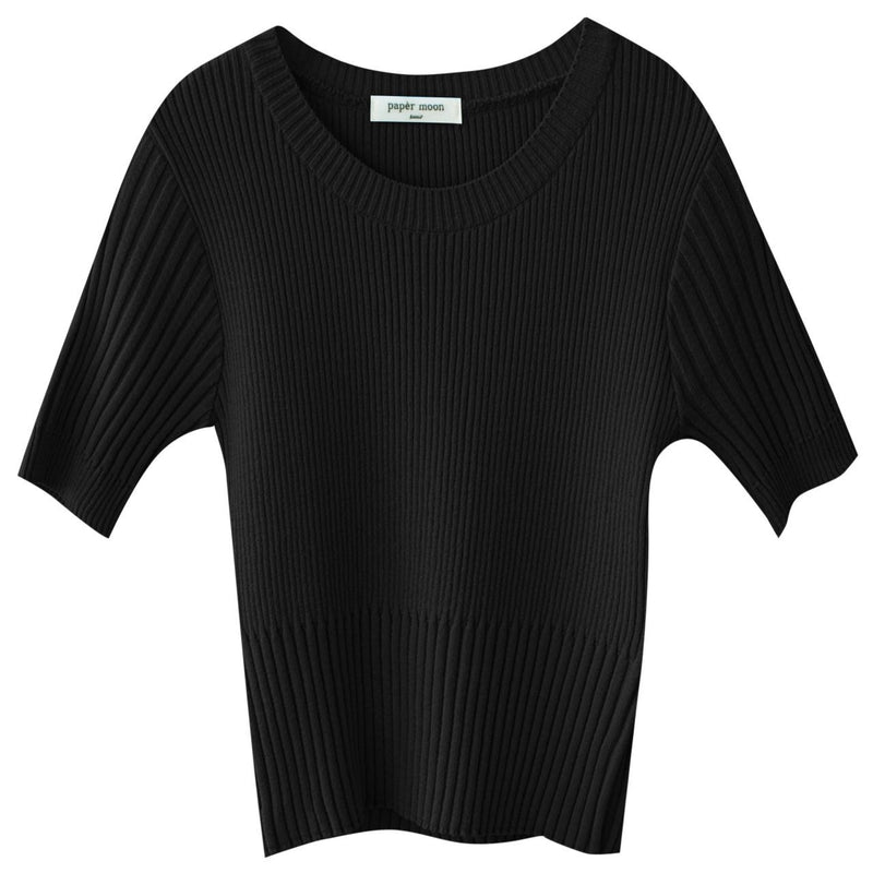 HALF SLEEVE CROPPED RIBBED KNIT