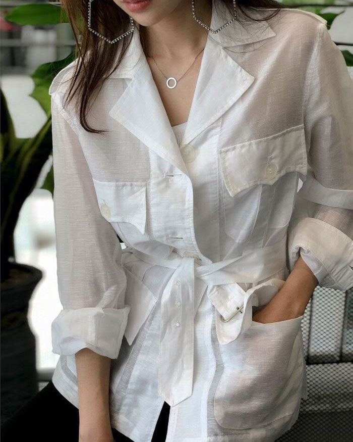 SHEER LINEN SAFARI JACKET - 3 COLORS