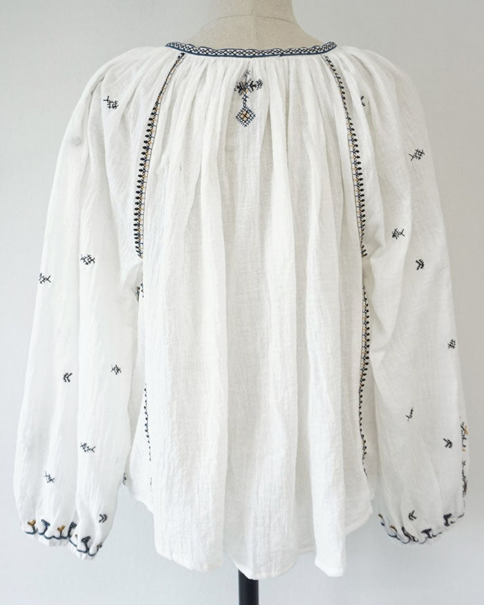 EMBROIDERED GAUZE BLOUSE