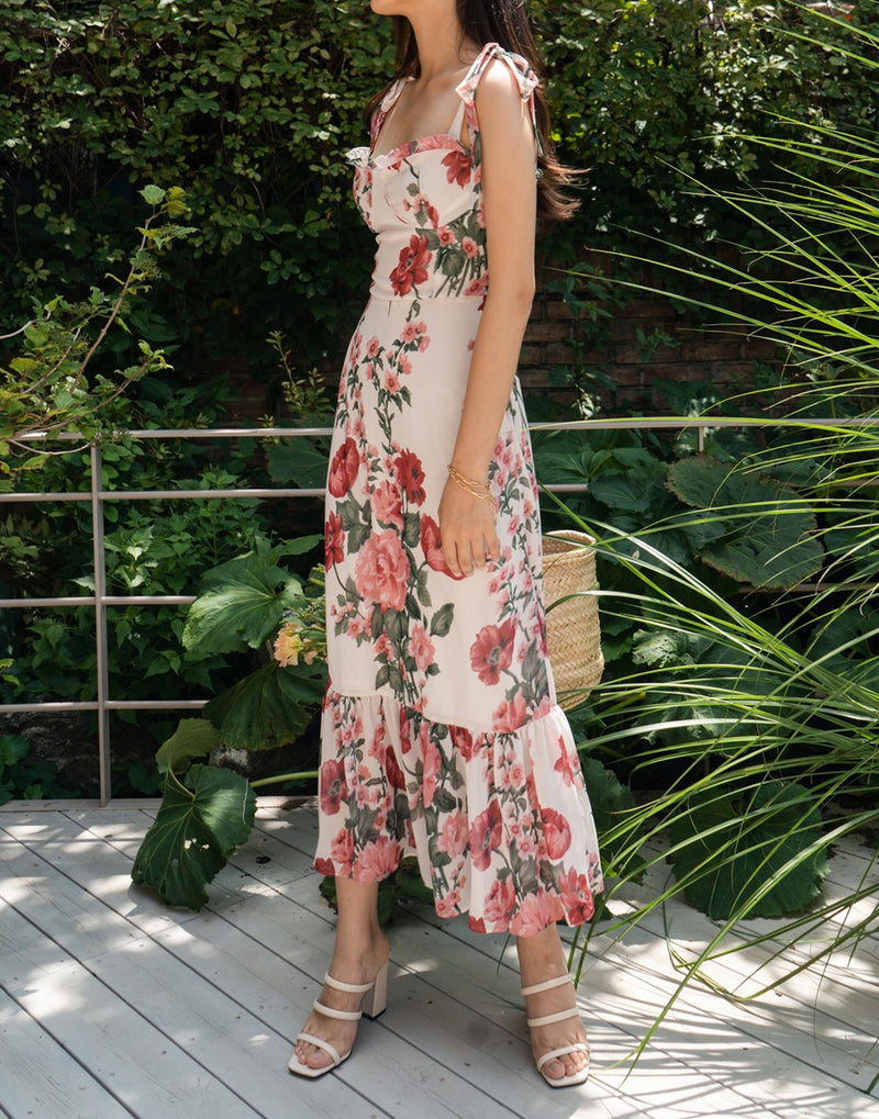 MIDI FLORAL DRESS WITH RUFFLE HEM