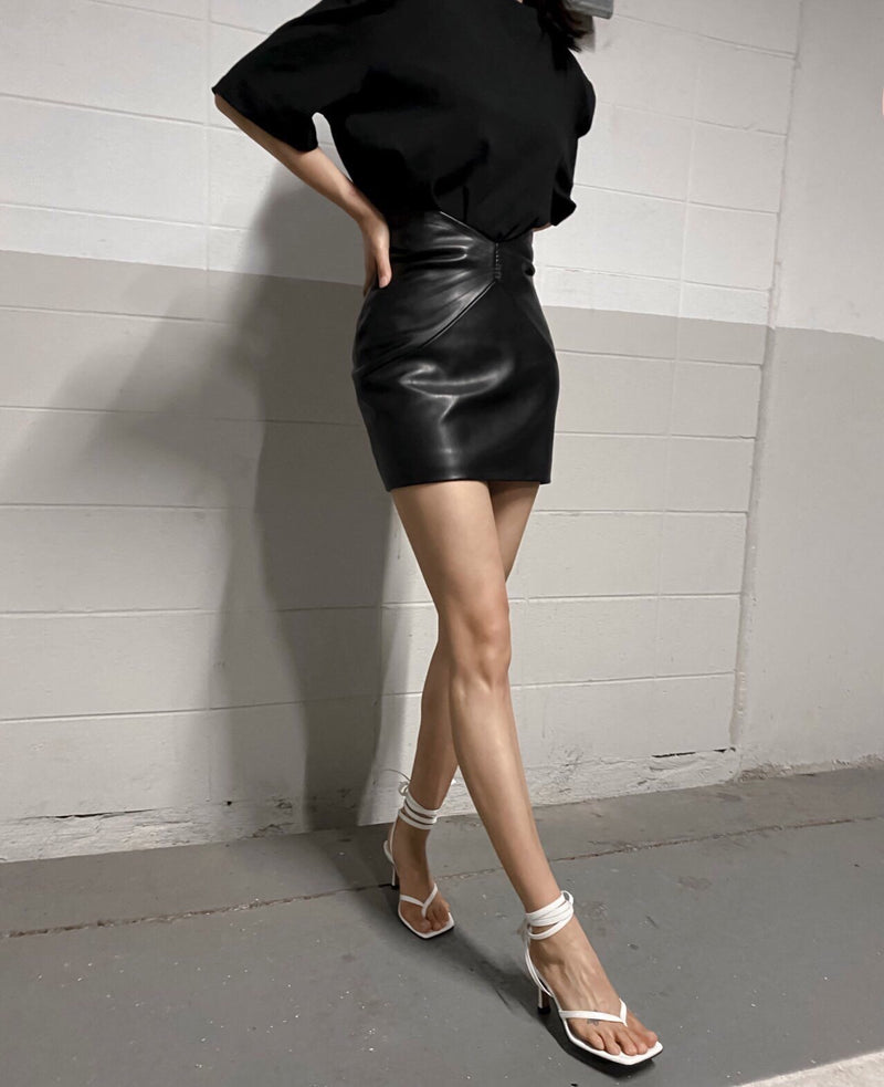 HIGH RISE VEGAN LEATHER MINI SKIRT