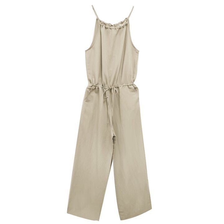 LINEN HALTER JUMPSUIT - 3 COLORS
