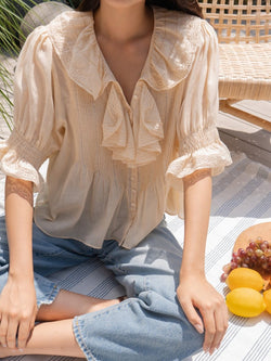 GATHERED SLEEVE RUFFLE COTTON BLOUSE