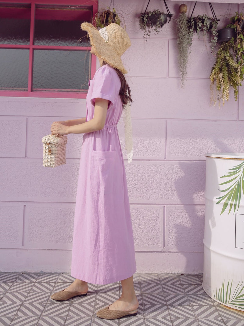 LINEN BUTTON DOWN MIDI DRESS