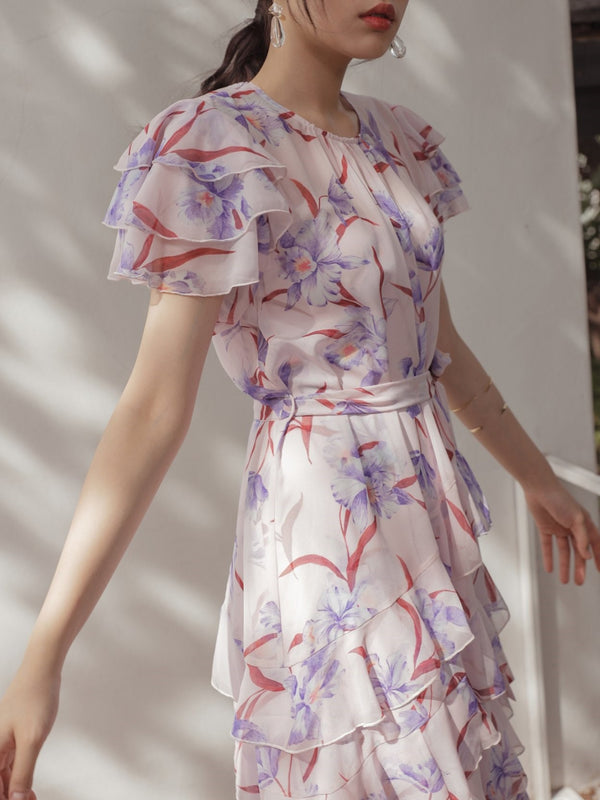 SILK FLORAL PRINT FLUTTER DRESS