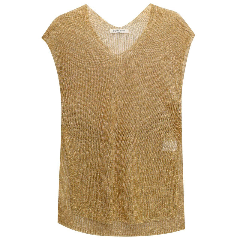 METALLIC SLEEVELESS KNIT TOP