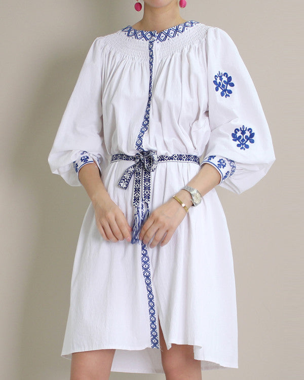 BALLOON SLEEVE EMBROIDERED DRESS