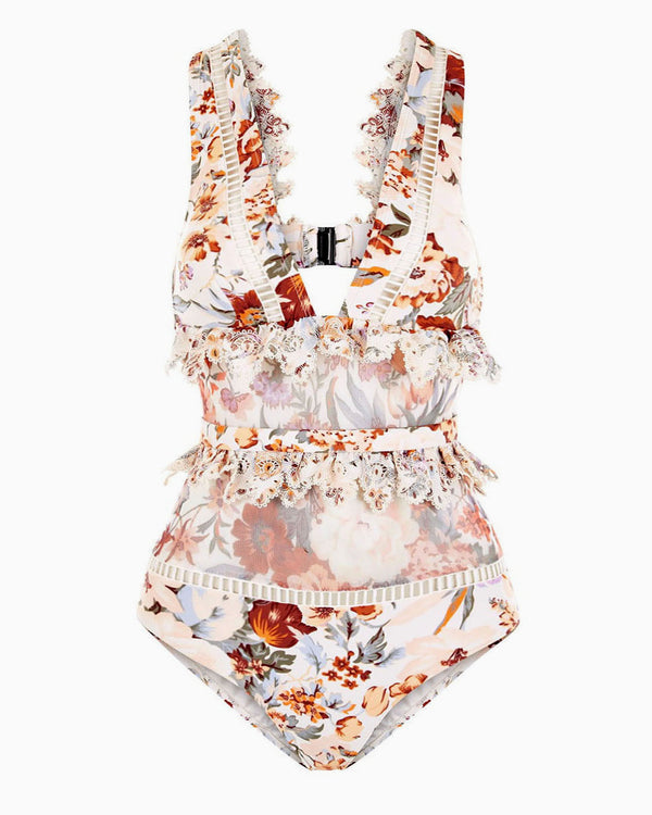 FLORAL LACED MONOKINI SWIMSUIT