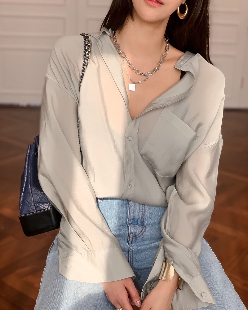 LUXE SATIN TIE BLOUSE - 4 COLORS