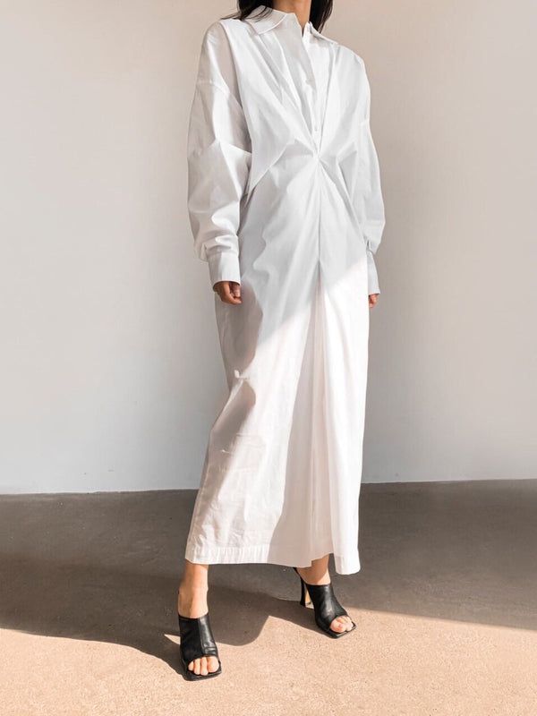 FRONT GATHERED OVERSIZED DRESS SHIRT