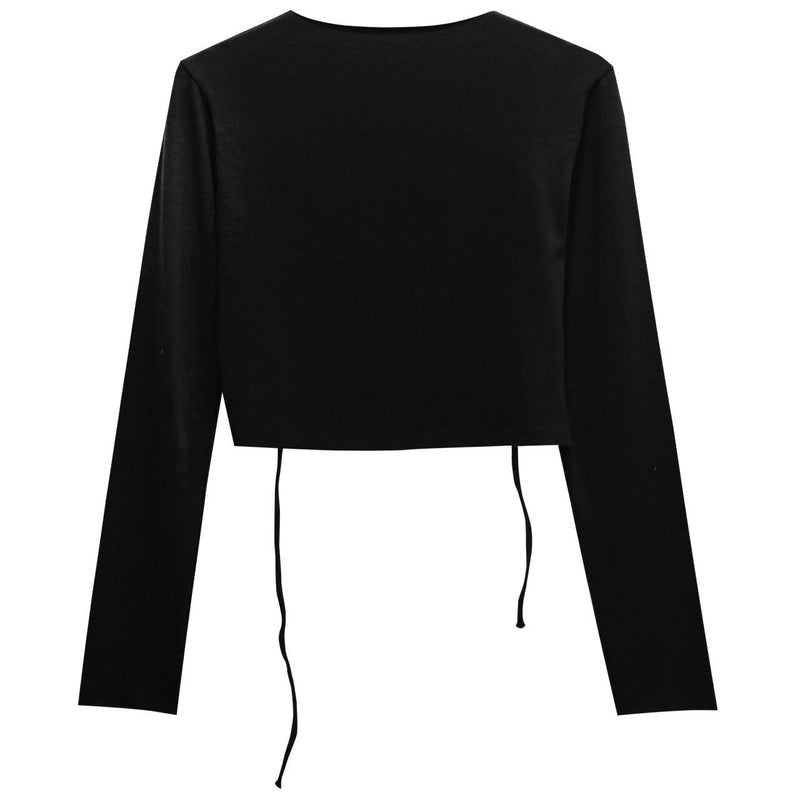 BACKLESS STRAP DETAIL LONG SLEEVE TOP