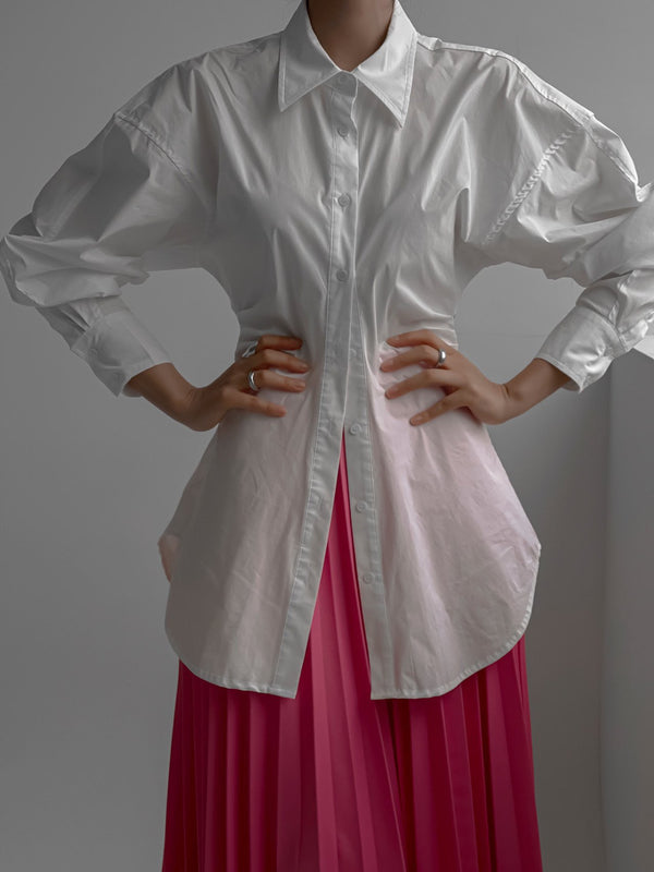 BALLOON SLEEVE BLOUSE WITH SHIRRED WAIST