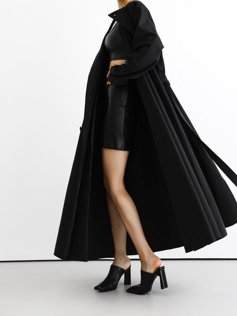 COLLARLESS DOUBLE LAYERED MAXI TRENCH COAT