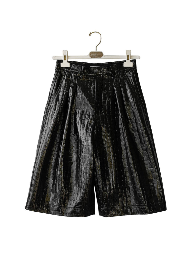 CROC LEATHER BERMUDA SHORTS
