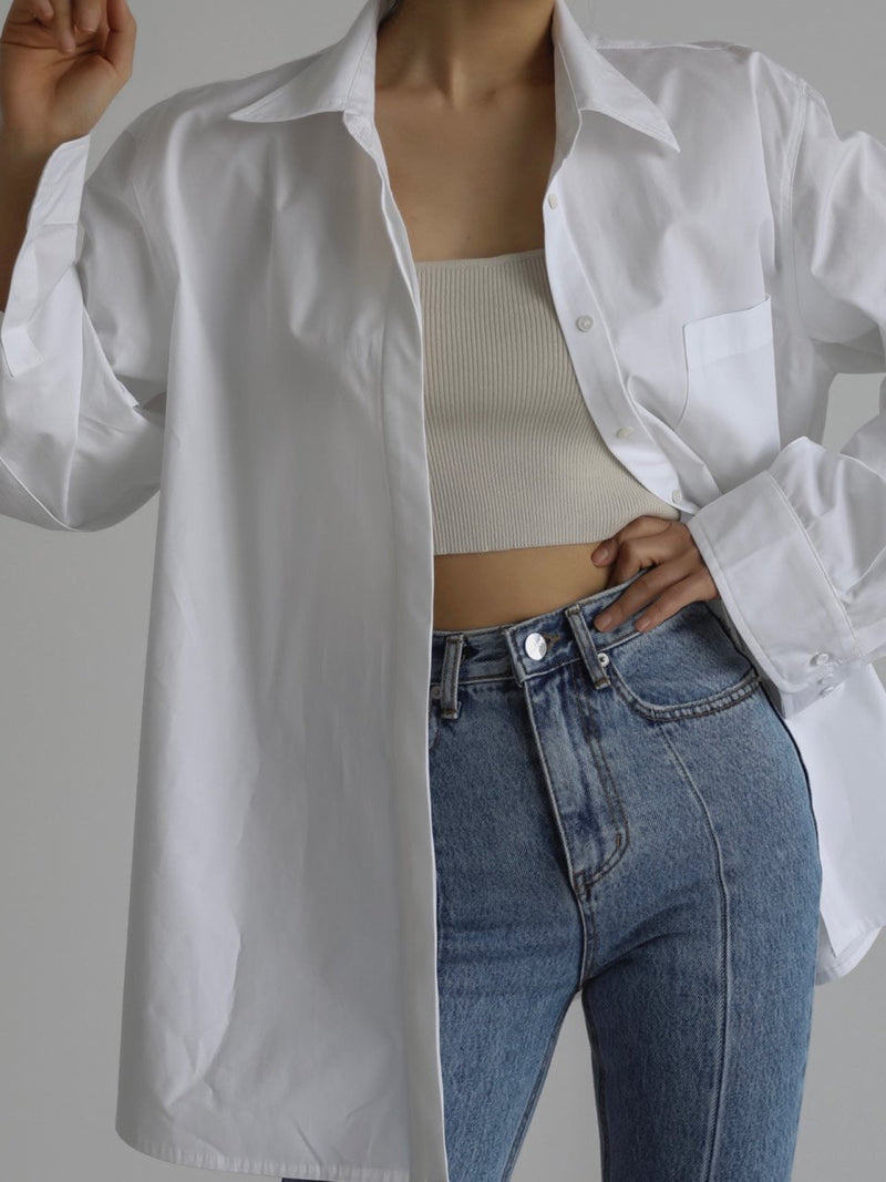 DOUBLE CUFF DETAIL OVERSIZED COTTON SHIRT