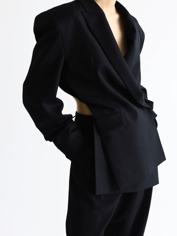 DRAPED WOOL BLAZER WITH OPEN BACK