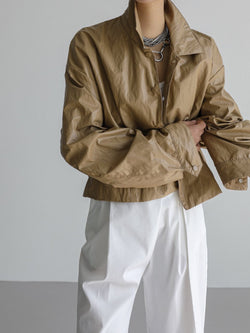 ECO LEATHER CROPPED COACH JACKET