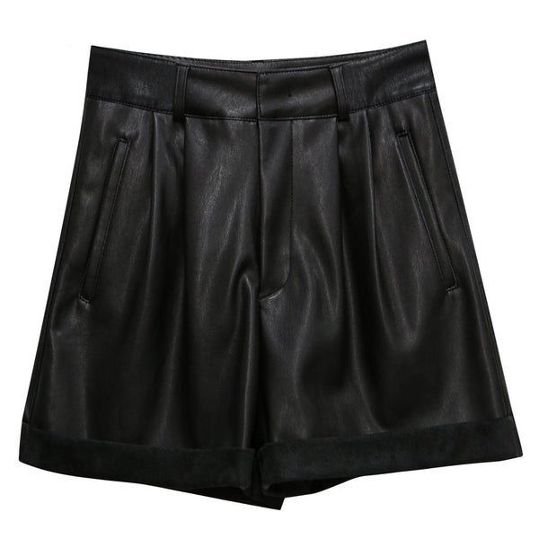 HIGH WAISTED COTTON SHORTS WITH ROLL HEM
