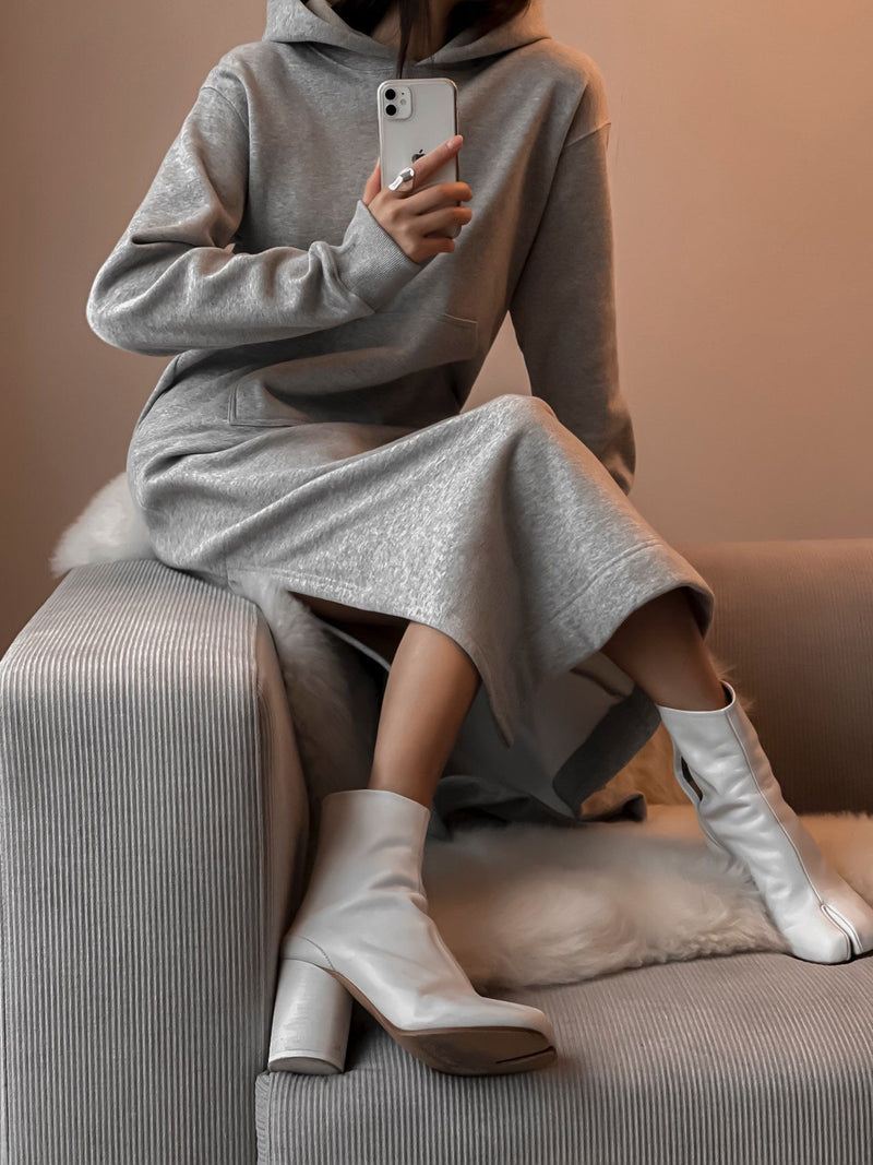 HOODED MAXI SWEATSHIRT DRESS