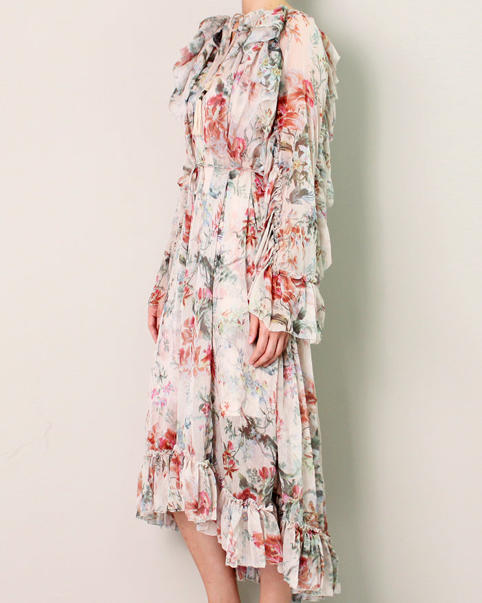 RUFFLED FLORAL GEORGETTE DRESS