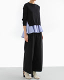 WOOL FELT CROPPED WIDE PANTS